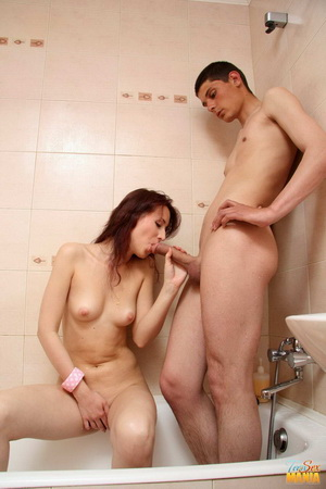 Teen couple having sex in the bathroom